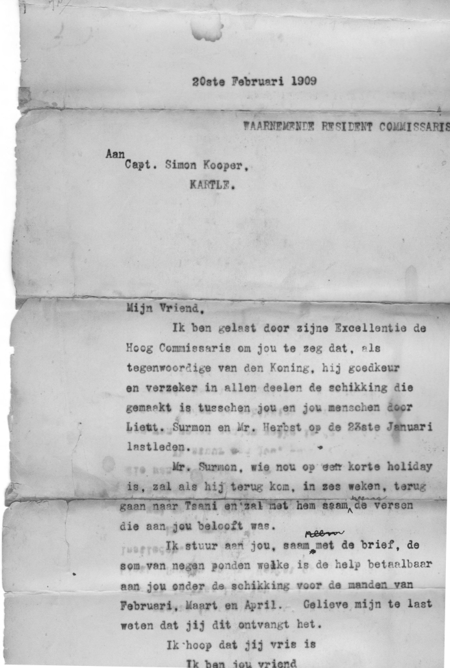 1909 contract with Simon Kooper